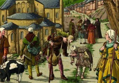 Ilustracion del Camino de Santiago en la Edad Media