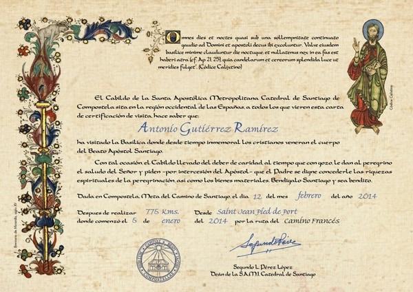 La Compostela y otros certificados de peregrinos