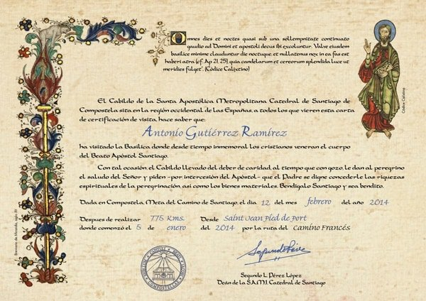 The Compostela and other Pilgrims certificates