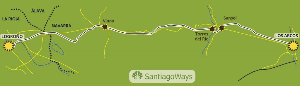 Mapa de Los Arcos a Logroño
