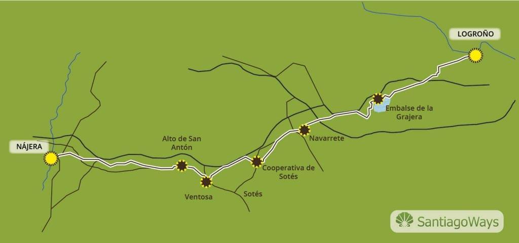 Mapa Logrono a Nájera