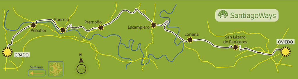 Mapa de Oviedo a Grado