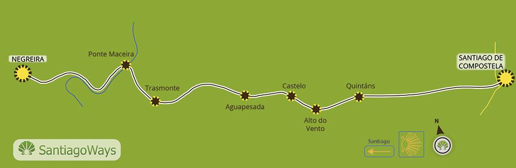 Mapa etapa de Santiago de Compostela a Negreira