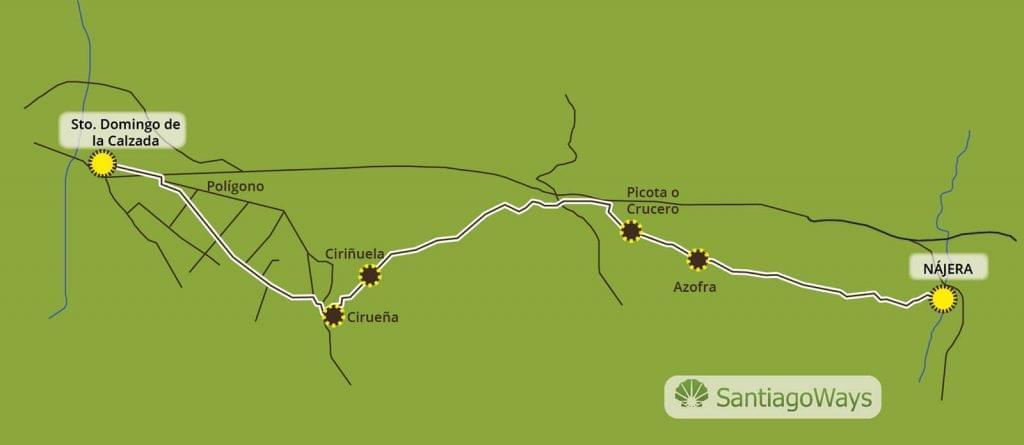 Mapa Nájera a Santo Domingo de la Calzada
