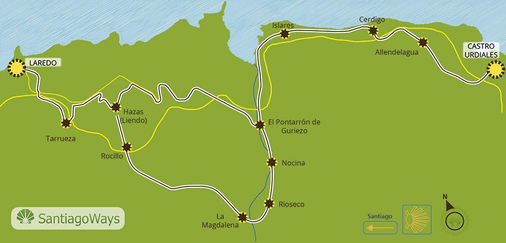 Mapa etapa de Castro Urdiales a Laredo