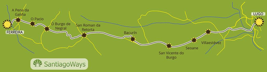 Mapa de Lugo a Ferreira