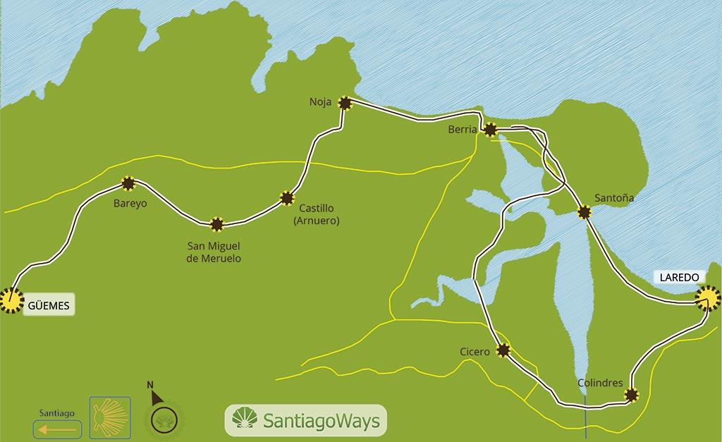 Mapa etapa de Laredo a Guemes