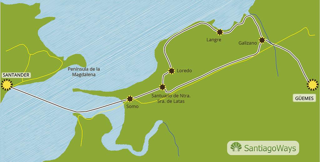 Mapa etapa de Guemes a Santander