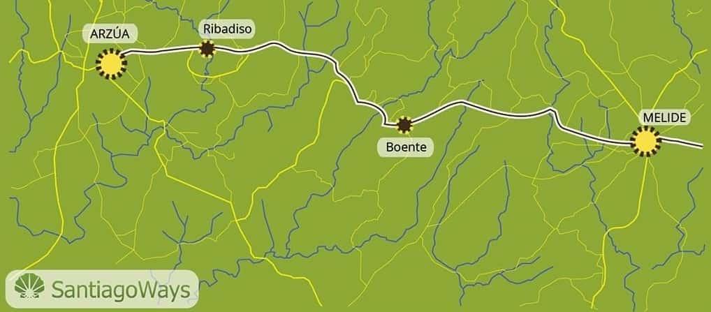 Mapa de Melide a Arzua