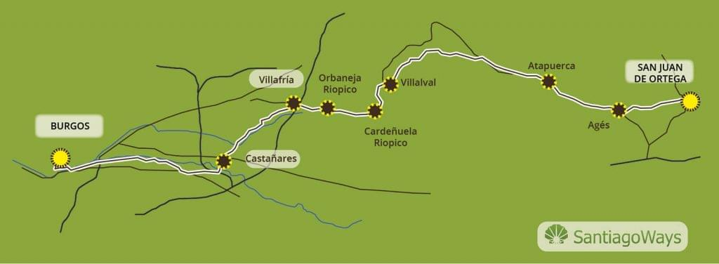 Mapa San Juan Ortega a Burgos