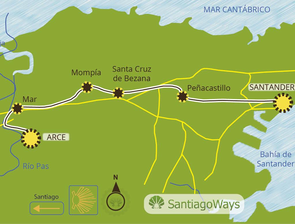 Mapa etapa de Santander a Arce
