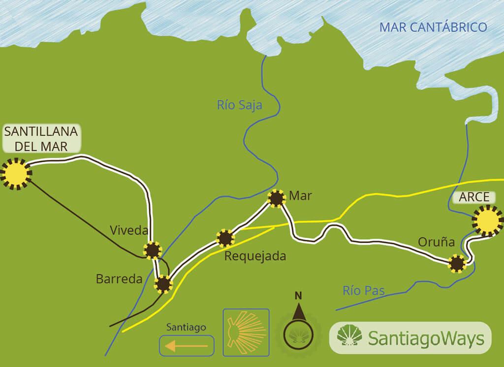 Mapa etapa de Arce a Santillana