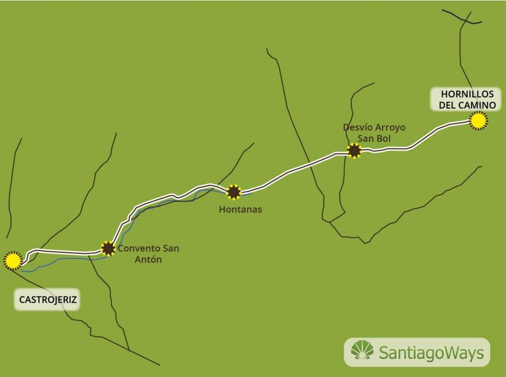 Mapa Hornillos del Camino a Castrojeriz