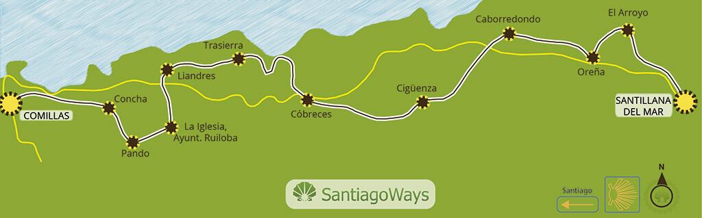 Mapa etapa de Santillana a Comillas