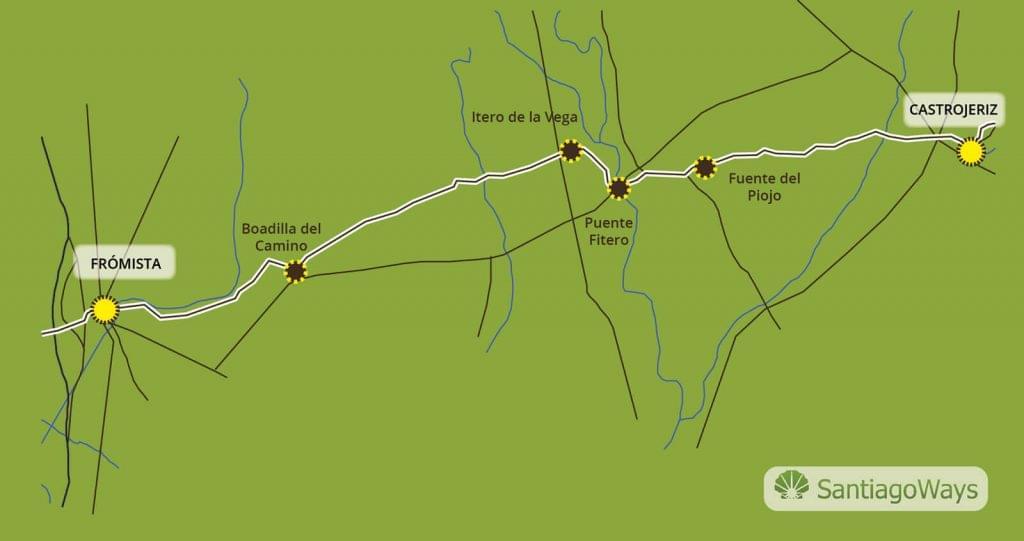 Mapa Castrojeriz a Fromista