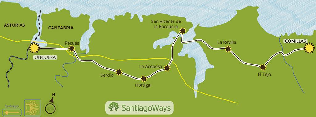Mapa etapa de Comillas a Unquera
