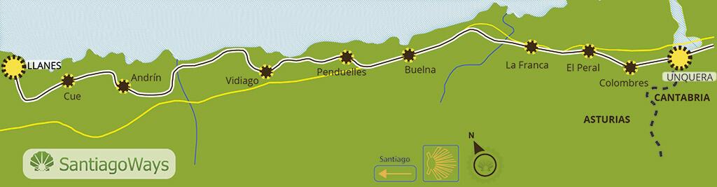 Mapa etapa de Unquera a Llanes