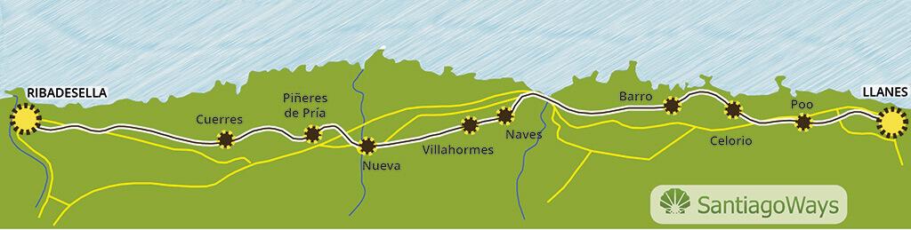 Mapa etapa de Llanes a Ribadesella