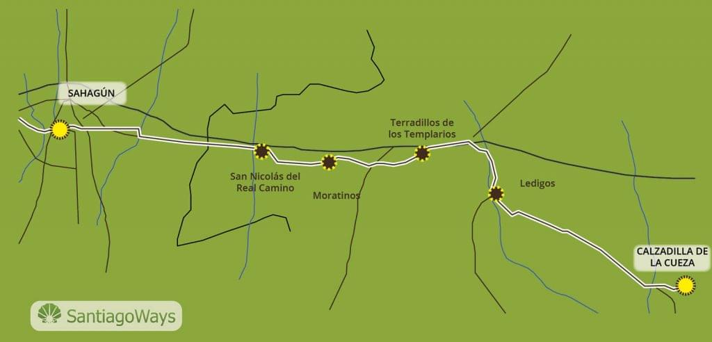 Mapa Calzadilla a Sahagun
