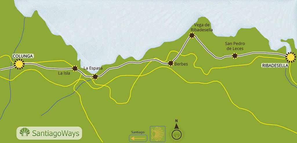 Mapa etapa de Ribadesella a Colunga