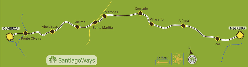 Map stage Negreira - Olveiroa