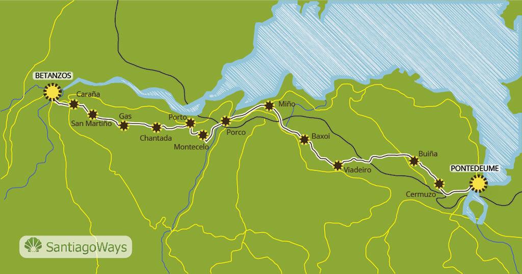 Mapa etapa de Pontedeume a Betanzos