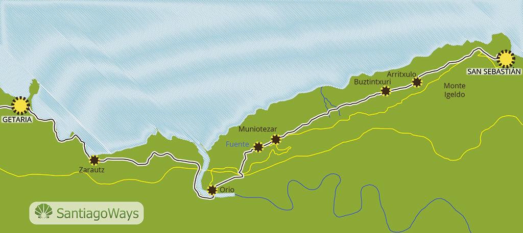 Mapa etapa de San Sebastian a Getaria