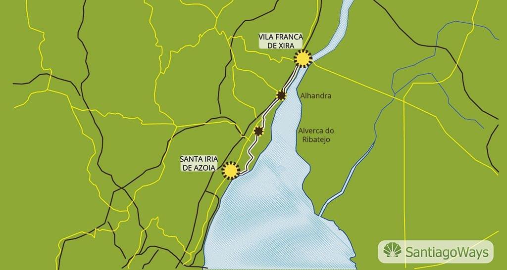 Mapa de Santa Iria de Azoia a Vila Franca de Xiria