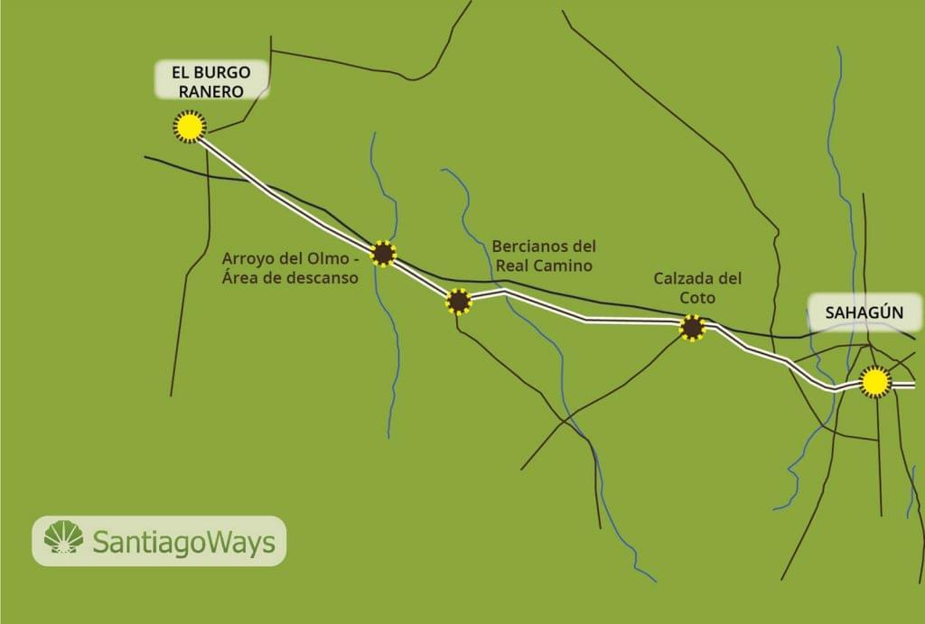 Mapa de Sahagun a El Burgo Ranero