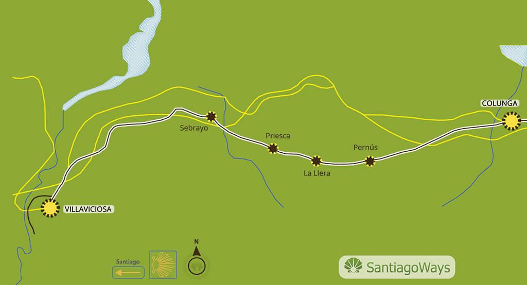 Mapa etapa de Colunga a Villaviciosa