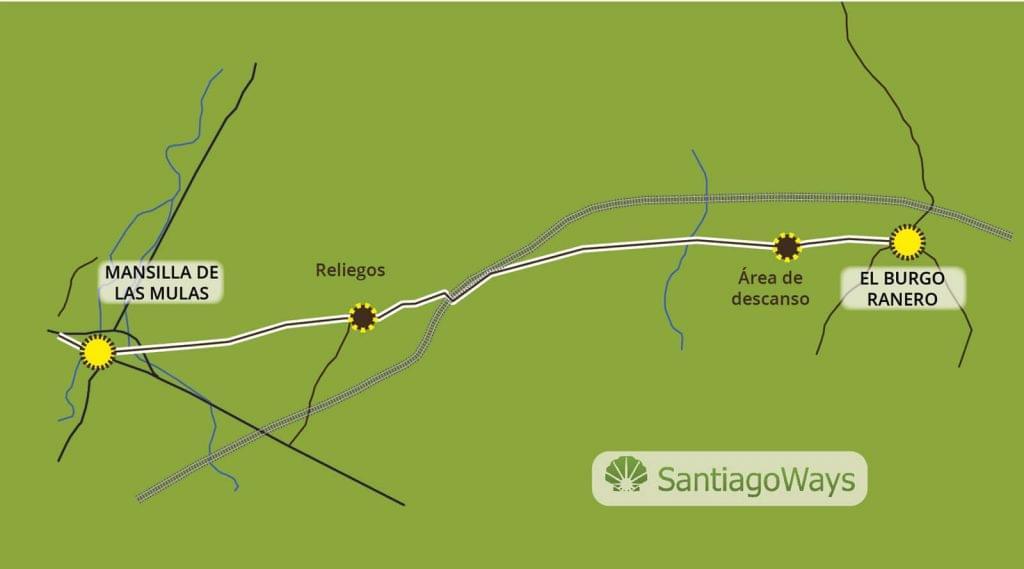 Mapa El Burgo Ranero a Mansilla de las Mulas