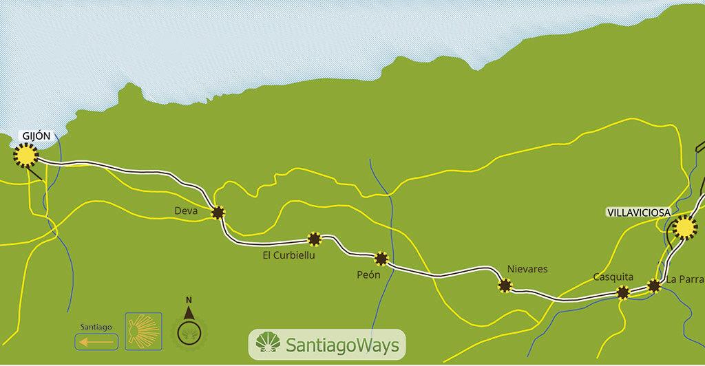 Mapa etapa de Villaviciosa a Gijon