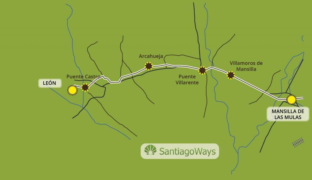 Mapa de Mansilla de las Mulas a Leon