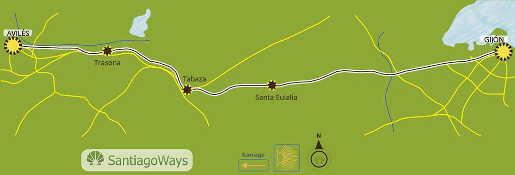 Mapa etapa de Gijon a Aviles
