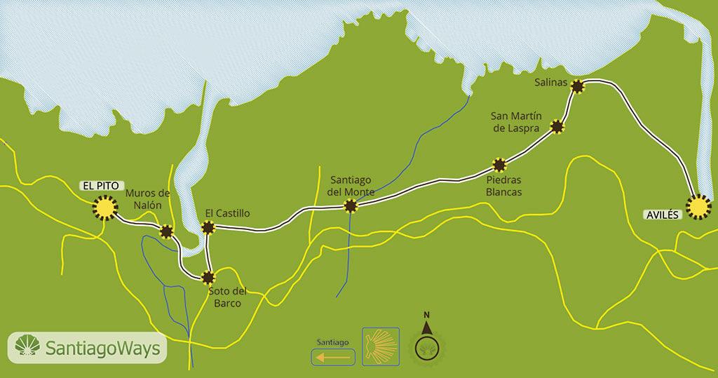 Mapa etapa de Aviles a El Pito