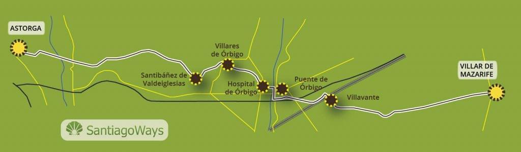 Mapa Villar de Mazarife a Astorga