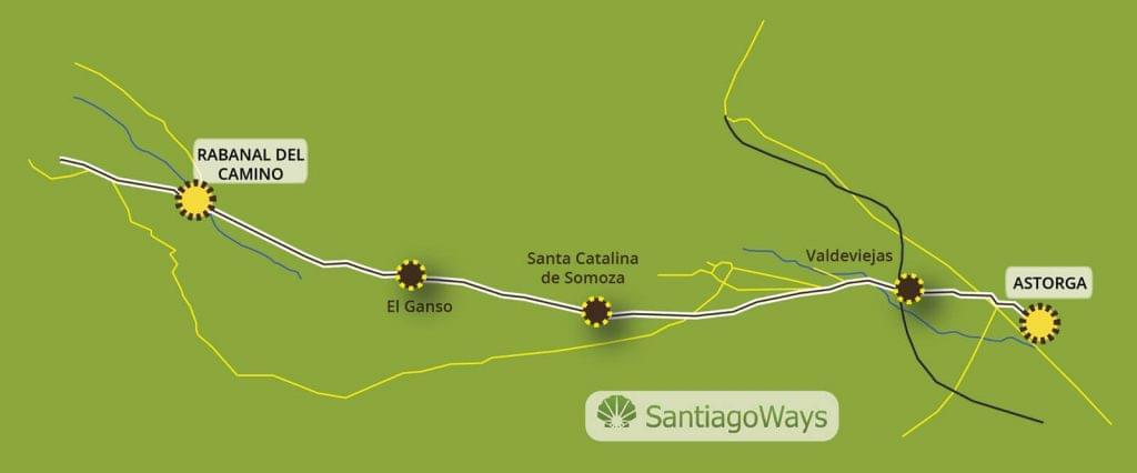 Mapa Astorga a Rabanal del Camino