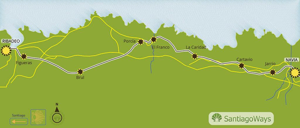 Mapa etapa de Navia a Ribadeo