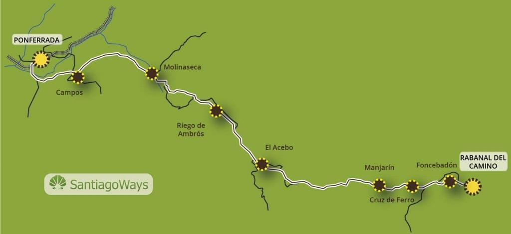 Mapa Rabanal del Camino a Ponferrada