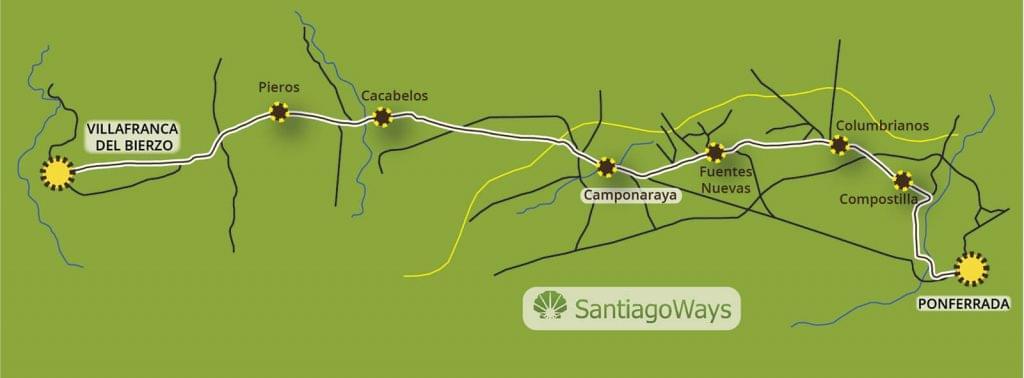 Mapa Ponferrada a Villafranca del Bierzo