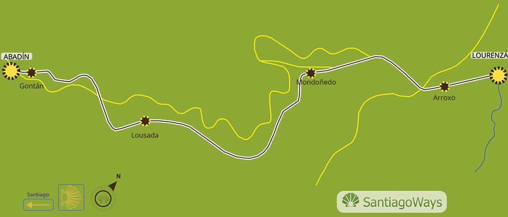 Mapa etapa de Lourenza a Abadin