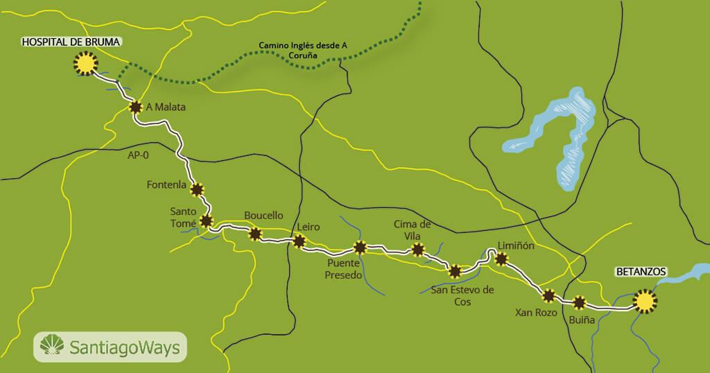 Mapa etapa de Betanzos a Bruma