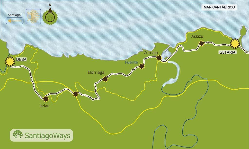 Mapa etapa de Getaria a Deba