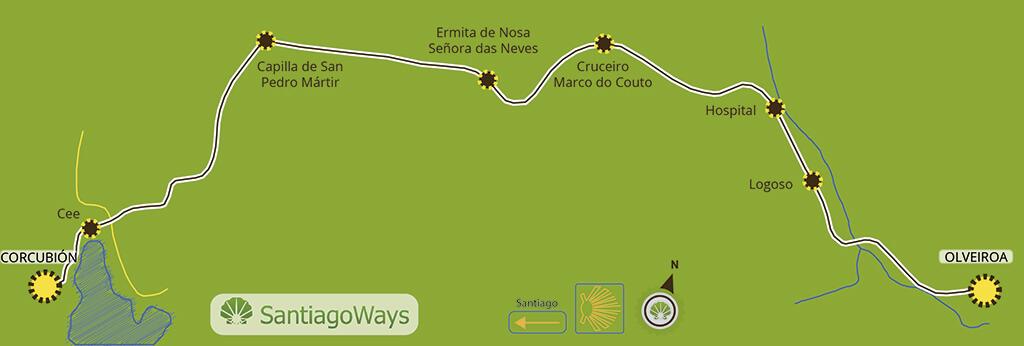 Mapa etapa de Olveiroa a Corcubion