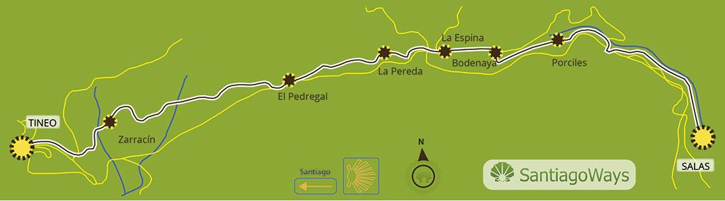Mapa de Salas a Tineo