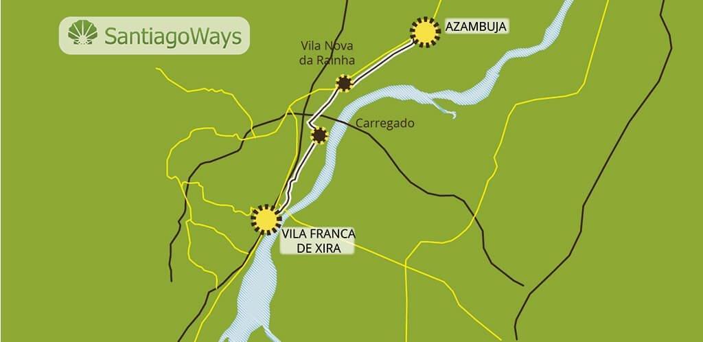 Mapa de Vila Franca de Xiria a Azambuja