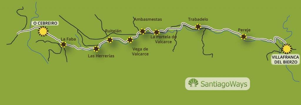 Mapa Villafranca del Bierzo a O Cebreiro