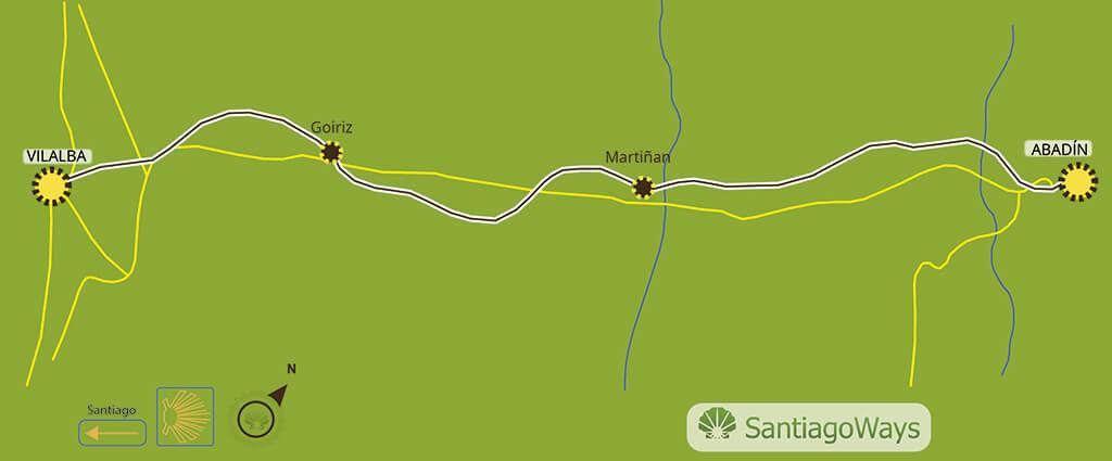 Mapa etapa de Abadin a Vilalba