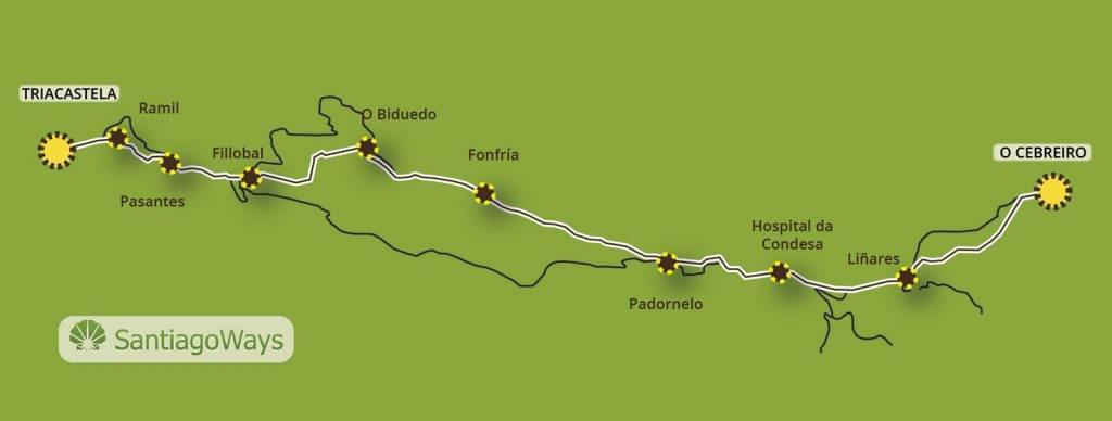 Mapa de O Cebreiro a Triacastela
