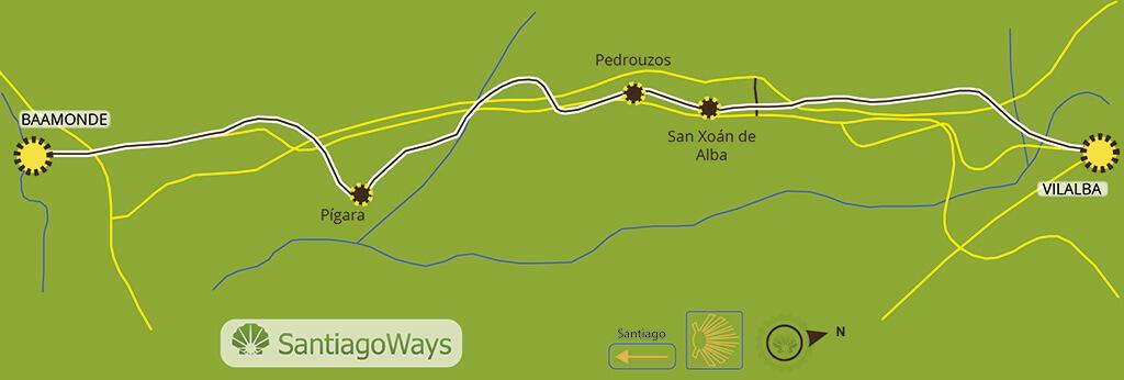 Mapa etapa de Vilalba a Baamonde